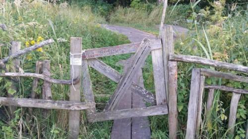 Portti estää lampaita lähtemästä pitkospuille.