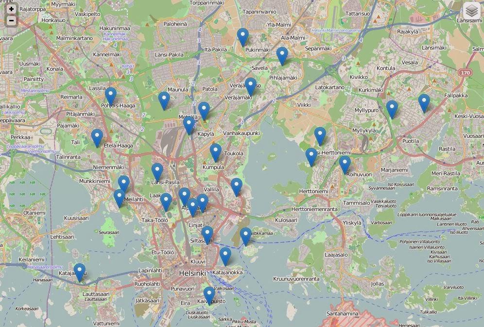 Stadin hyddat kartalla