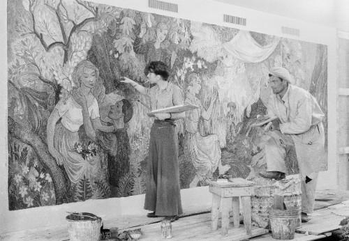 Tove työn touhussa vuonna 1947. Kuva: HAM.